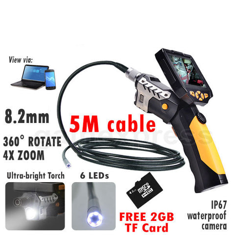 "N04NTS-200_5M Detachable 3.5""  LCD Inspection Camera 8.2mm Endoscope Borescope + 5M cable"