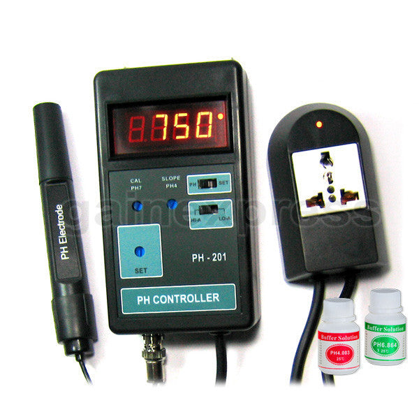 PH-201 Digital pH Controller + Electrode + Solutions 110V or 220V