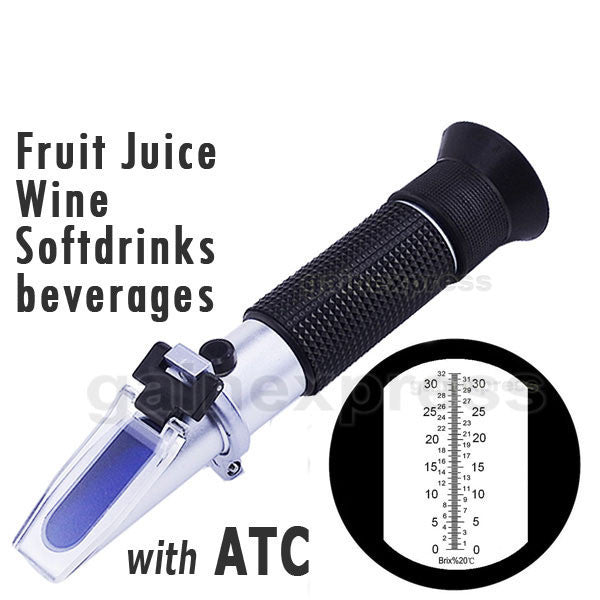 RHB-32ATC Brix Refractometer with ATC, 0-32% Brix in 0.2% division, for brandy, beer, fruits, Cutting Liquid, CNC, Vegetables, Juices, Soft Drinks