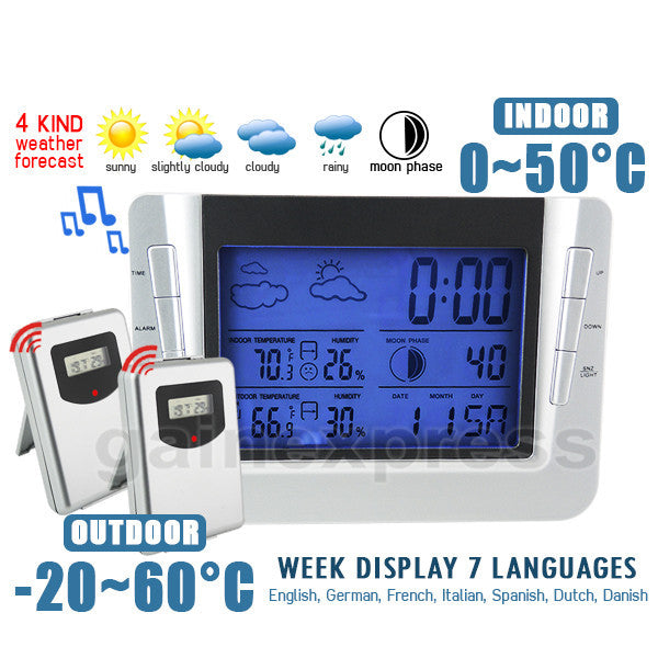 S08S608B_2S Wireless Weather Forecast Station Indoor Outdoor Temperature Humidity RCC Clock  with 2 sensors