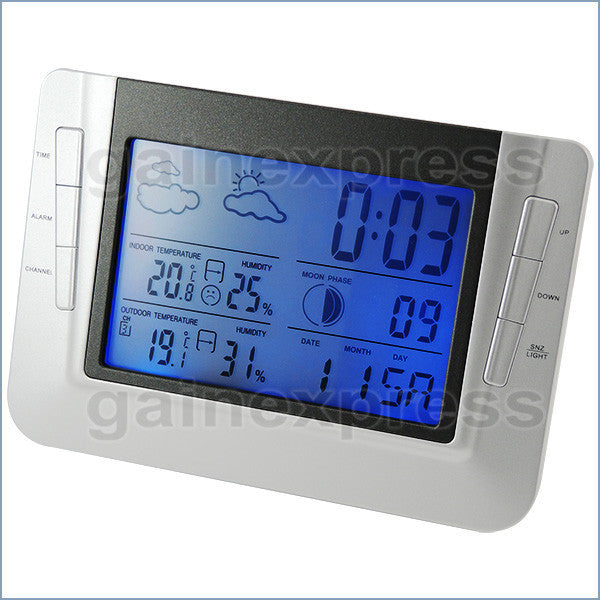 S08S608B_3S Indoor Outdoor Weather Forecast Station Temperature RCC Clock Calendar with 3 sensors