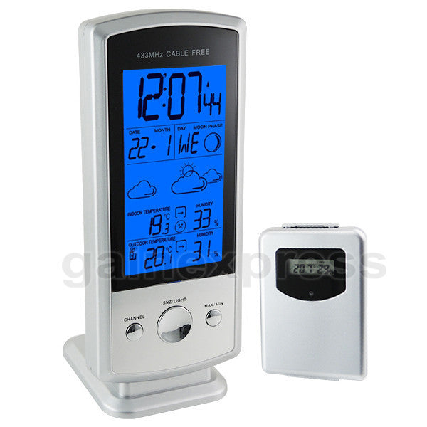 S08S613B_1S Wireless Digital Weather Forecast Station Humidity Indoor/Outdoor Temperature RCC Clock Calendar