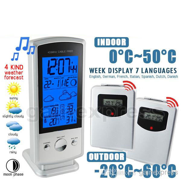 S08S613B_2S Indoor/Outdoor Wireless Digital Weather Forecast Station Humidity Temperature RCC Clock Calendar with 2 sensors
