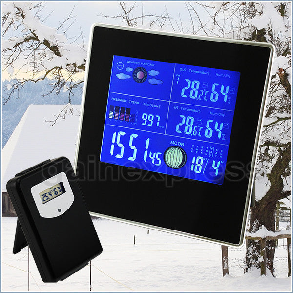 S08S620PV_2S Indoor/Outdoor Digital Wireless Weather Station Temperature Relative Humidity RH Air Pressure RCC DCF with Bar Chart + 2 sensors 110V / 220V