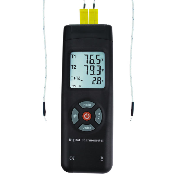 THE-26 Digital Thermometer Dual Type-K Thermocouples Probe Temperature  Instrument Large Display with Backlight