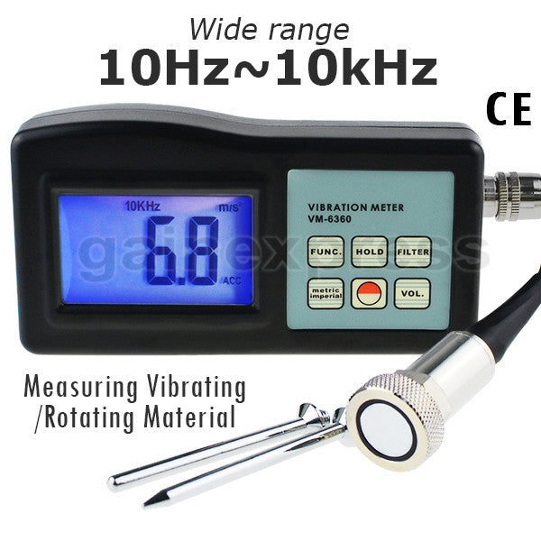 VM-6360 Digital Vibration Meter with LCD , Gauge Tester Analyzer