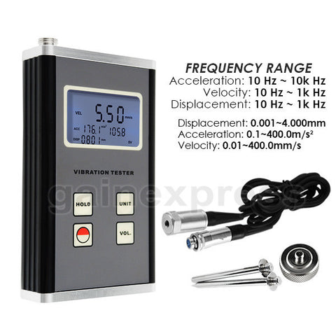 VM-6370 Vibration Meter Piezoelectric Sensor Displacement Velocity Acceleration 10Hz~10kHz Range