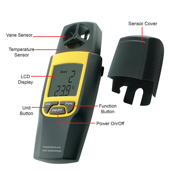 VA-8020 Digital Anemometer Thermometer, Air Speed Temperature Meter