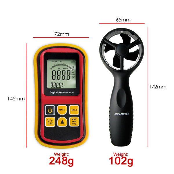 AM-8901 Digital Anemometer Wind Speed Meter Thermometer 0~45m/s