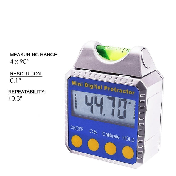 810-100SS Level Bevel Box Digital Angle Finder Gauge Spirit Level/Bubble with Magnets, Inclinometer, Mini Protractor with Absolute, Relative & Always Upright Readings