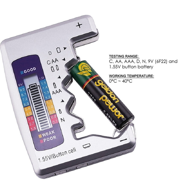 710-110 Battery Tester Checker C AA AAA D N 9V 1.5V Button Cell Batteries