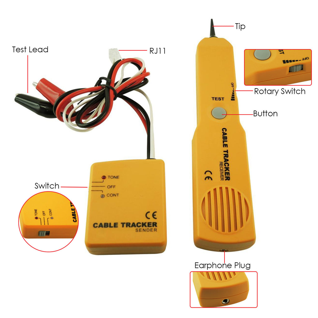 E04 026 Telephone Line Cable Tracker Wire Tracer Tester Sender And Featured Electrical Circuit Tracers Testers At Test Equipment Reciever Kit Tone Continuity