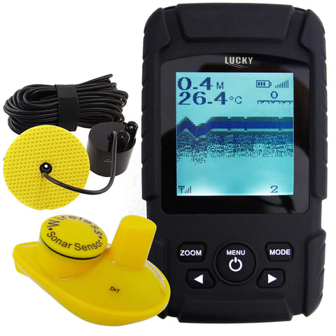 FF-718LI 2in1 Rechargeable Wired 100m Wireless 40m Fish Finder w/ Sensor & Sonar Transducer