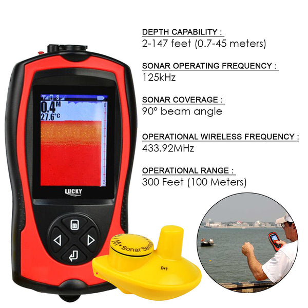 FF-1108-1CW Lucky Wireless Fish Finder 2~147ft Colored LCD Fishfinder Sensor Sonar Detector Fishing