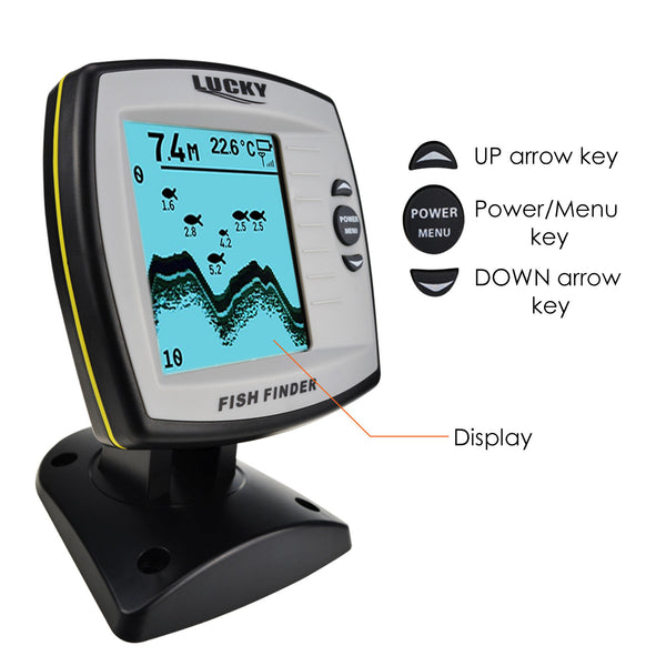 FF-918N1 LUCKY Fish Finder Depth Sounder Transducer 328feet(100m) with 4-level Grayscale FSTN LCD Fish Detector
