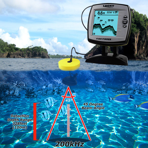 FF-918N2 LUCKY 2-in-1 Fish Finder 100m(Wired)/60m(Wireless) Depth Sounder Sensor Transducer Fishfinder Fishing Detector Monitor