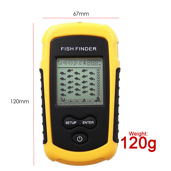 FFW-1108-1 LUCKY Dot Matrix Wireless Sonar Sensor Fish Finder with Audible Fish Alarm & Backlight, Depth Sounder 40m (131ft) for fresh and salt water, ocean, river, lake, sea, ice icy water, Fish Locator, Bottom Contour Weed Detector