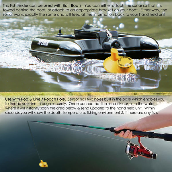 FFW-718 Lucky Portable Wireless Fish Finder Locator with 45m (135ft) Depth & 120m (400ft) Wireless Range, Display Water Temperature/ Fish Size & Location, Fishing Gear Tools for Fresh & Salt water, Ocean, Sea, Lake, River, Ice Icy Water, 90° beam angle