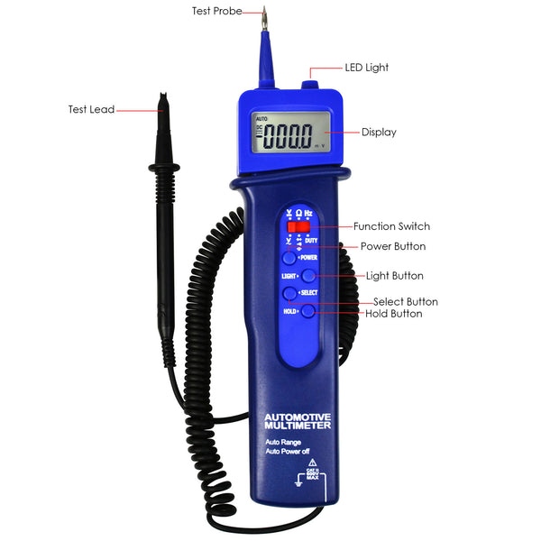 E04-037 Digital Multimeter Frequency Tester Resistance Pen Style Automotive Car Voltage DC/AC Tester