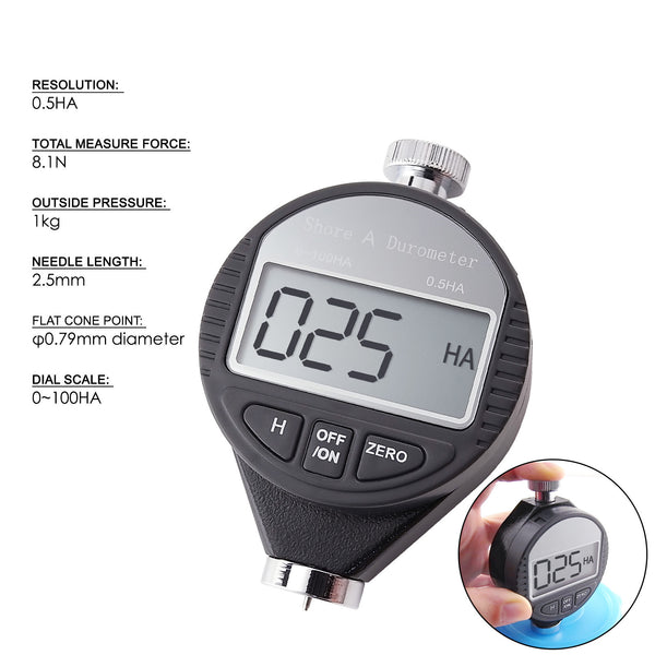 560-10A Shore A Digital Hardness Meter Durometer 0~100HA, Rubber Tire