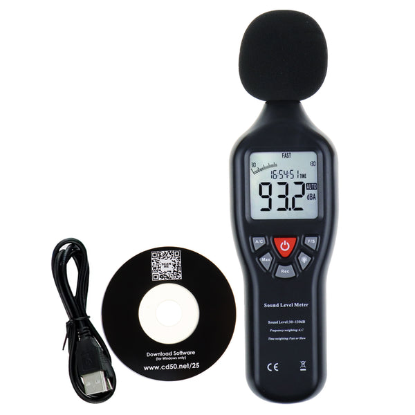 SLM-25 Sound Level Meter with Backlit Display High Accuracy Measuring 30dB~130dB with Data Logging Function Instrument Compact Professional