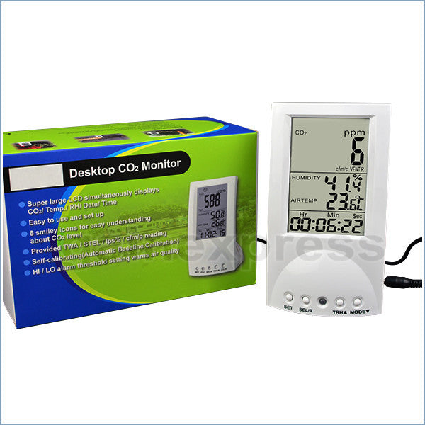 M0198130 Indoor Air Quality CO2 Monitor Temp. WB DP TWA STEL & Vent Rate