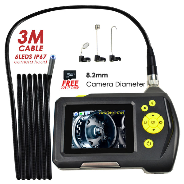 END-23_8.2mm_3M Waterproof Endoscope Digital Inspection Camera Borescope 8.2mm Camera 2.7 inch Screen Monitor and 3 Meter Cable, Handheld Digital