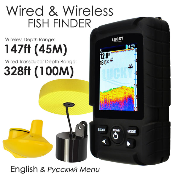 FF-718LIC 2-in-1 LUCKY Fishfinder Wireless/Wired Sensor English/Russian Menu 328ft/100m Waterproof Monitor Rechargeable Battery