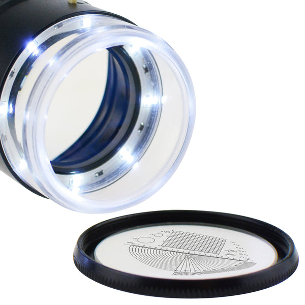 CLMG-7173_LED+3 Magnifier Scale Loupe 10x Magnification 8 LED Light 20mm Interchangeable 4 Glass Reticle Scale Chart 25mm Field of View