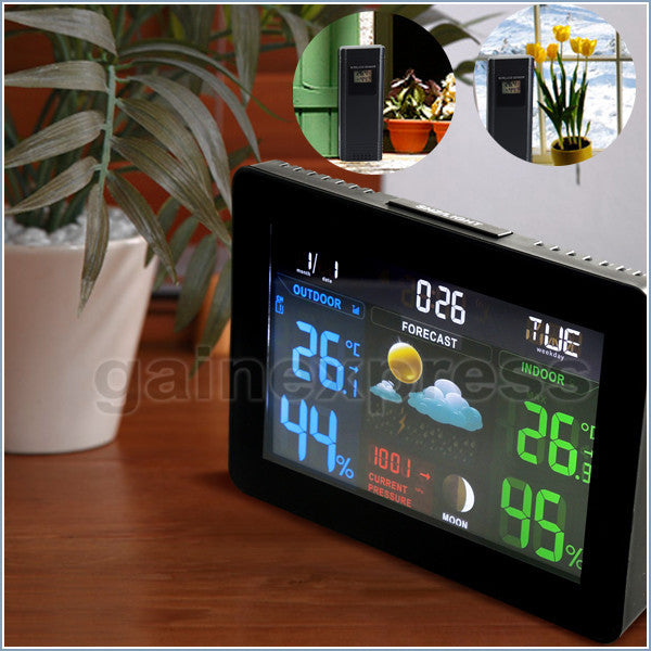 WS-001_EU_3S DCF RCC Digital Weather Forecast Station Barometer Temperature Monitor 3 Sensors 220V ONLY