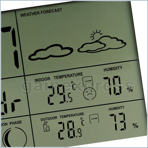 WS-002-2S Wireless Weather Forecast Station Indoor/Outdoor Temperature Humidity RH RCC DCF Thermometer 2 sensors Moonphase Alarm