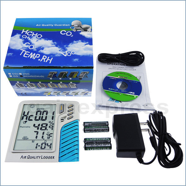HCHO-D001 Desktop Digital Air Quality Formaldehyde HCHO Thermo-hygrometer 0~5ppm Datalogger IAQ Meter Stand Alone Logger Taiwan Made Monitor