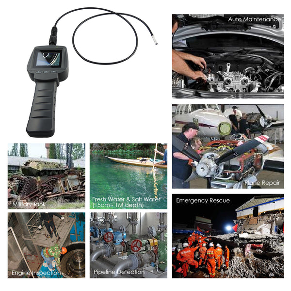 "VID-71_5.5_1M Industrial 5.5mm Camera 2.4"" HD Endoscope 1M Cable  Inspection 4 LED Borescope"