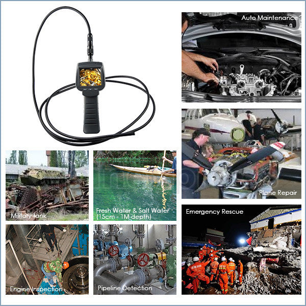 "VID-71_9_3M 2.4"" HD Industrial Endoscope 9mm Camera 4 LED Snake Scope Car Engine Inspection Tube Pipe 3 Meter Cable Borescope"