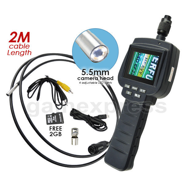 "VID-71R-5.5-2M 5.5mm Camera 2M Cable Recordable Video Inspection 2.4"" HD Endoscope Snakescope Industrial Borescope 4 LED Pipe Car Engine Scopes"