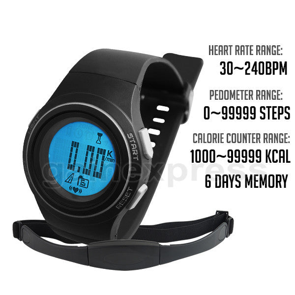 HRM-004 Heart Rate Monitor 30~240bpm Pedometer Exercise Belt Fat Calorie Counter Digital Sports Fitness Running Hiking Watch