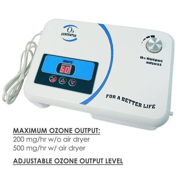 OZX-300AT O3 Generator w/ Built-in Air Pump Timer, Ozone Output 500mg/hr