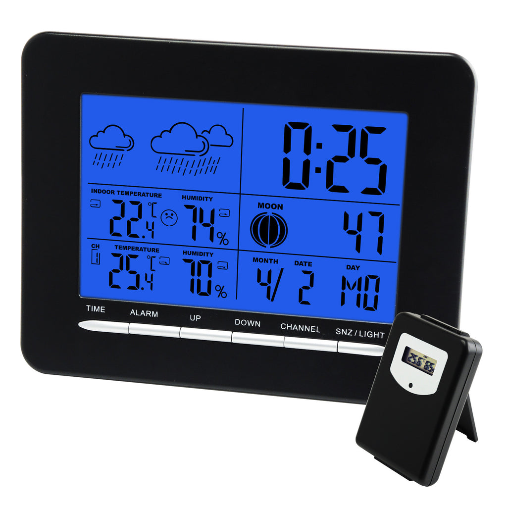 S08S3318BL_1S Digital Indoor/Outdoor Wireless Weather Station Temperature DCF Radio Controlled Clock