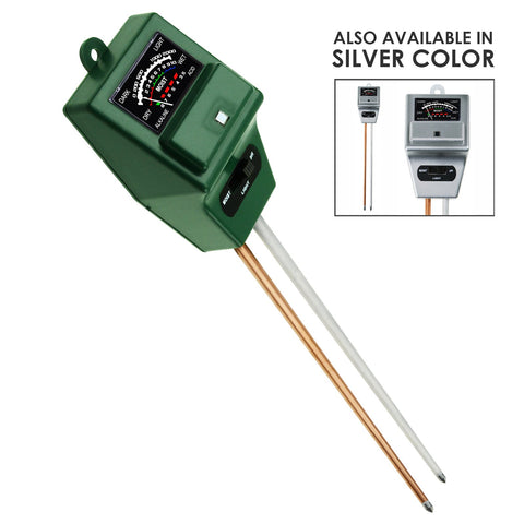 SQM-256 Soil pH, Moisture & Light Meter 3 Way Tester Kit, Gardening Acidity Probe Test Tool