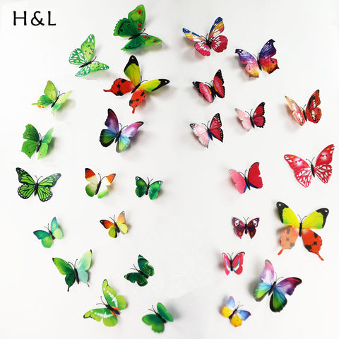 Hot 3D Butterfly Wall Decals Multicolor PVC Wall Stickers