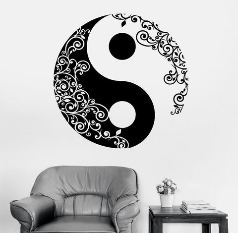 Wall Sticker Buddha Yin Yang Floral Yoga Meditation