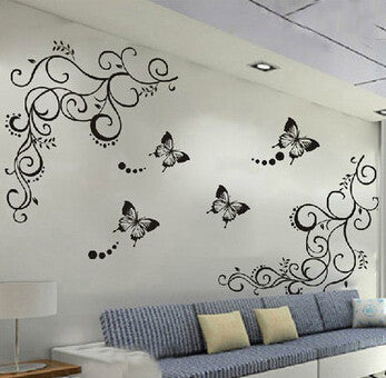 Black butterfly flower Wall sticker