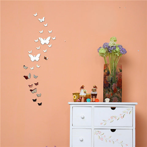 25PCS/1Set 3D Butterfly Mirror Wall Sticker Home Decorations