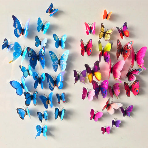 12 Pcs/Lot PVC 3D DIY Butterfly Wall Stickers for Home