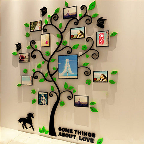 Colorful Picture Frame Tree 3D Acrylic Decoration Wall Sticker