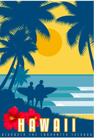 Hawaii Surf Surfing Sports Travel Tour Landscape Poster