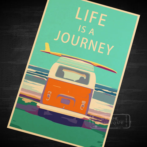 Life Is A Journey Vintage Travel Surf Beach Poster