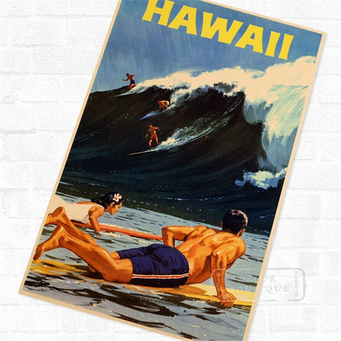 Hawaii Surfing  Poster Vintage