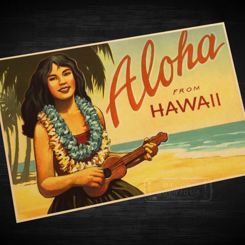 Hawaii Girls Midway Girl Vintage Retro Decorative Poster