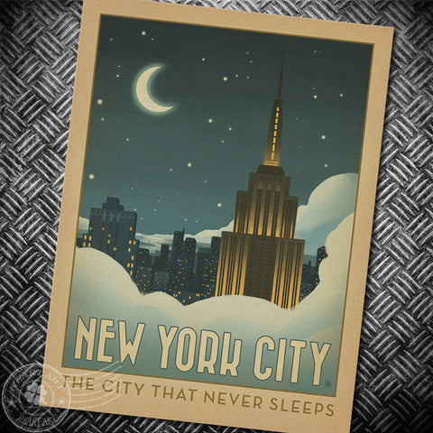 New York The city that never sleeps retro poster